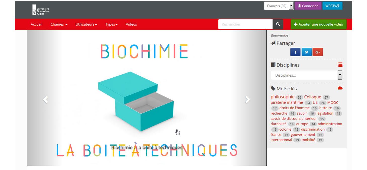 Capture d'écran de la page d'accueil de la WEBTV de l'UGA
